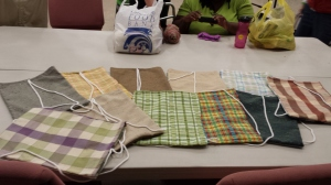 Some of the backpacks finished at Craft & Sew day!